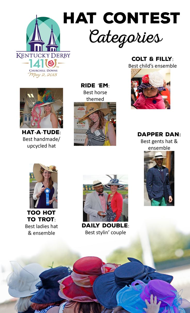 Hat contest categories for 2015!  Hat-A-Tude: Best handmade/upcycled hat Ride 'em: Best horse themed Too Hot to Trot: Best ladies hat & ensemble Daily Double: Best stylin' couple Dapper Dan: Best gents hat & ensemble Colt & Filly: Best child's ensemble
