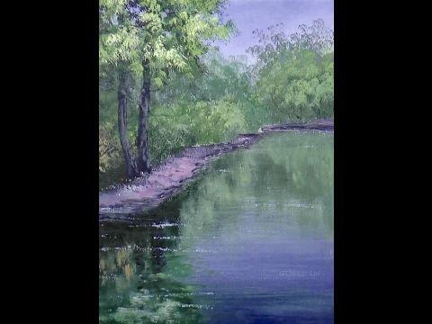 Зеленые деревья, кусты, отражения. Акрил. How to paint different greens, foliages, river in acrylic - YouTube
