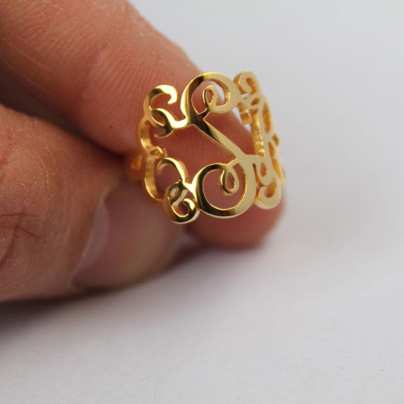 Handmade Monogram Ring Three Initial by JewelryGiftsDesign on Etsy, $33.99