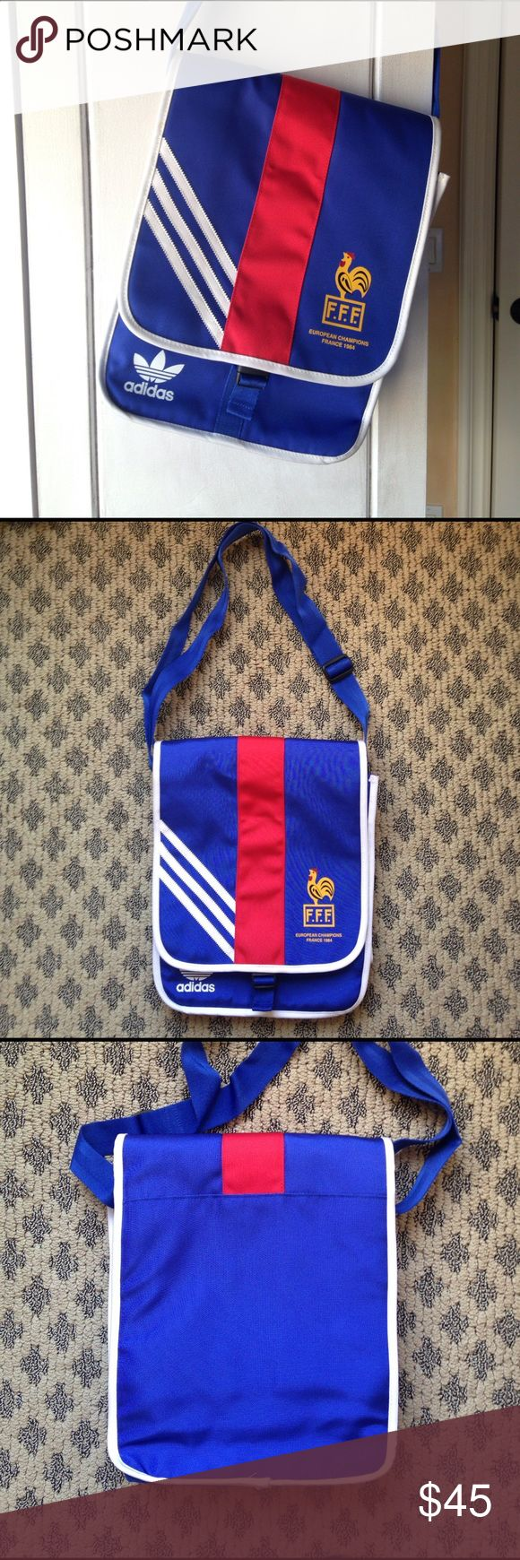 ⚽️ADIDAS EUROPEAN CHAMPIONS FRANCE CROSS BODY BAG ADIDAS⚽️ EUROPEAN CHAMPIONS FRANCE CROSS BODY BAG. Unique piece! In great condition - has small black mark on inside of the flap (see photo). Can wear over shoulder or cross body. Inside zipper compartment. Also great for kids! Can fit small laptop, magazines, books and iPad inside. Adidas Bags Crossbody Bags