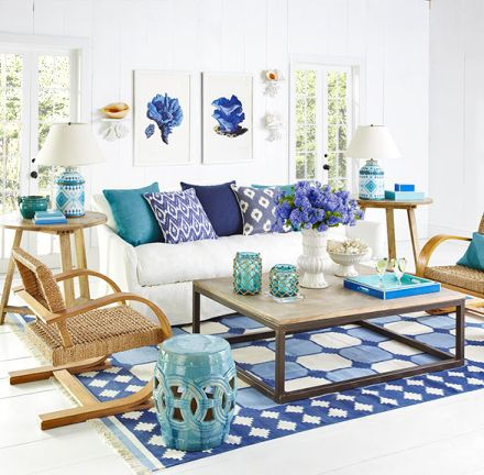 Artful Coastal Blue Living Rooms from Wisteria