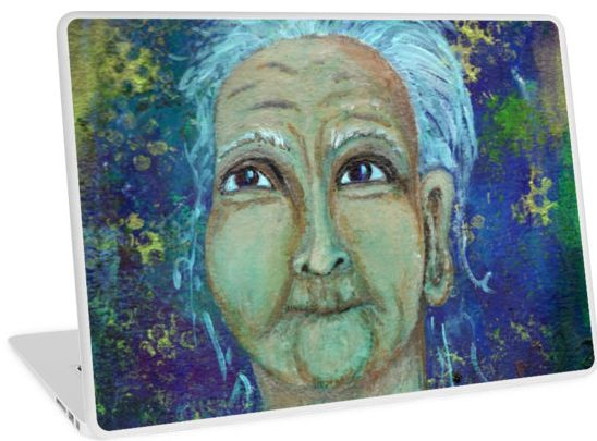 Auntie Ebb laptop skin ~ http://www.redbubble.com/people/elizafayle/works/13682796-auntie-ebb?p=laptop-skin  #woman #old #elderly #wise #crone