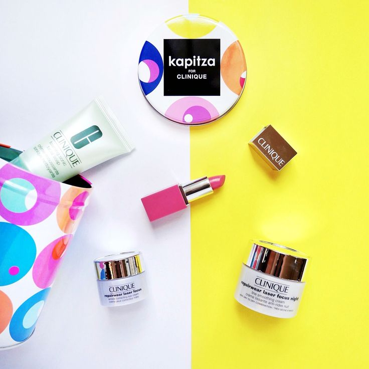 Kapitza Pop Art 5pc Kit:  1. Foaming Sonic Facial Soap 30ml 2. Repairwear Laser Focus Wrinkle Correcting Eye Cream 5ml 3. Repairwear Smoothing Night Cream 15ml 4. Mini Clinique Pop Lip Color + Primer in Sweet Pop  5. Limited Edition Cosmetics Cannister by famous design studio, Kapitza (www.kapitza.com).