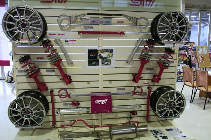 STI parts display at Subaru dealer in Japan