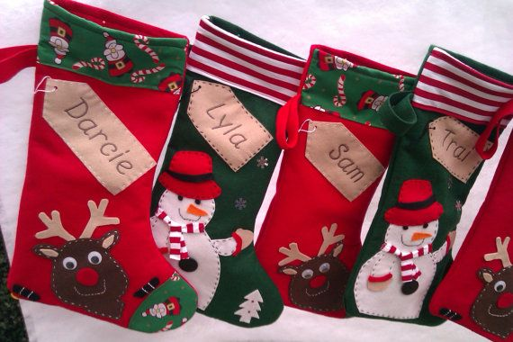 Personalised Christmas Stocking - Santa-Green Snowman - Red Reindeer -Handmade