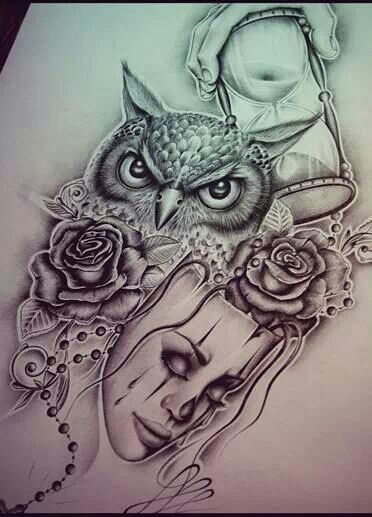 sandwatch owl flowers mask Sketch Tattoo