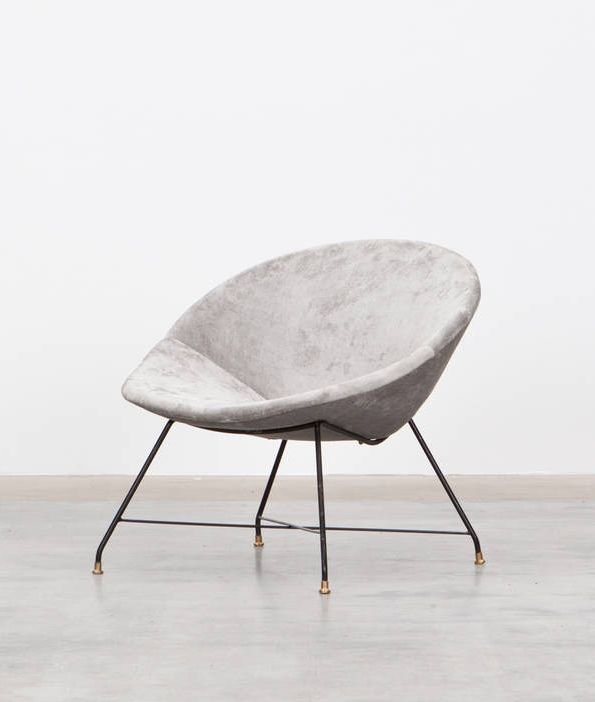 Augusto Bozzi; Enameled Metal And Brass Chair For Saporiti, 1958.