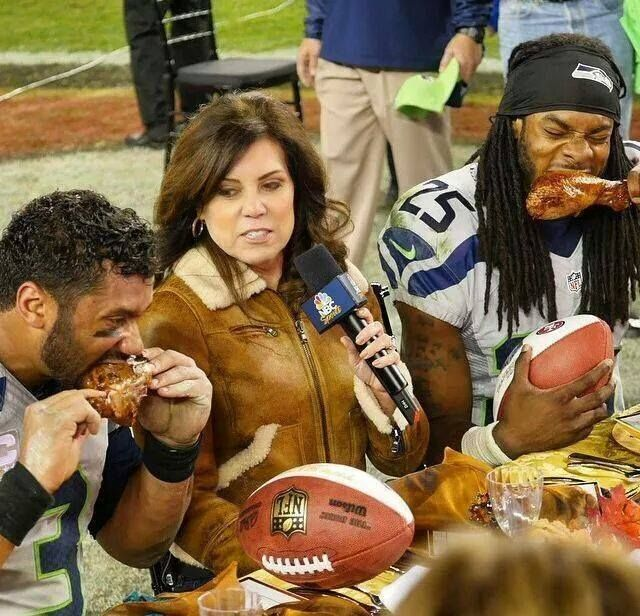 Happy Thanksgiving 2014!!!!! Russell Wilson & Richard Sherman Madden Players of the game.  Eating turkey on rival 49ers  logo.  Nice finish to a great day.  11-27-2014