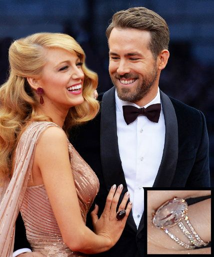 Blake Lively and Ryan Reynolds 'Engagement #Ring. A light pink #Oval #Diamonds with a diamond band.