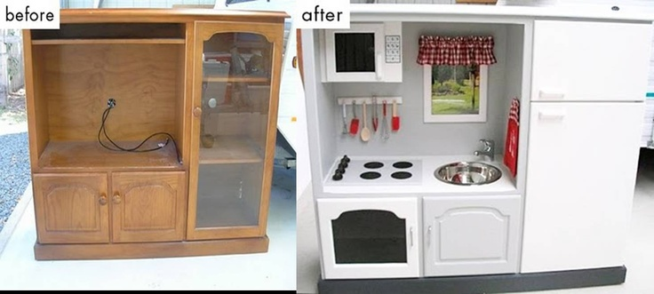 DIY Kitchen Set.  They used an entertainment unit and made it into a Kitchen set.