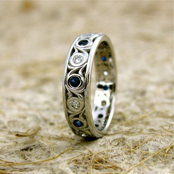 Vintage Inspired Diamond & Blue Sapphire Wedding Ring in 14K White Gold with Scrolls Size 5/4.5 mm on Etsy, $890.00