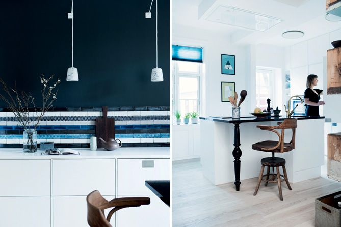 Farve: B39 Kul fra Dyrup (væg) - her kombineret med Made a Manos smukke lavastensfliser. Artikel: Køkken med kontraster (BoligLiv).