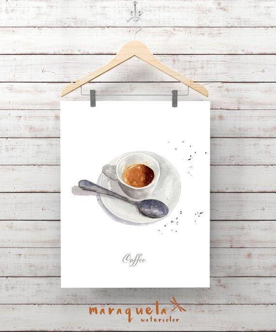 DESAYUNO Ilustracion cafe expreso en acuarela laminas por Maraquela