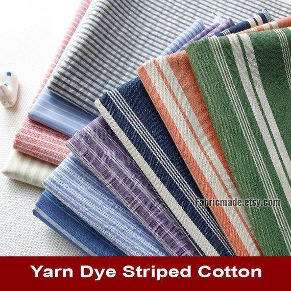 Yarn Dye Stripes Cotton Fabric Orange Grey Green Stripes Cotton