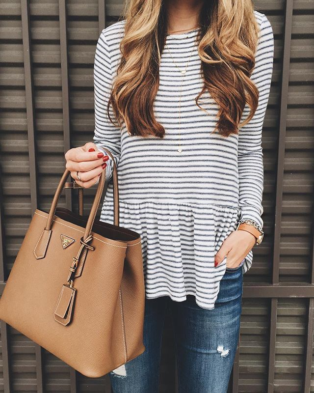 Dropped peplum and stripes
