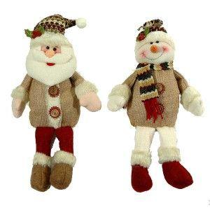 Υφασμάτινες φιγούρες Άι Βασίλη και χιονάνθρωπου 36cm με κρεμάμενα ποδαράκια