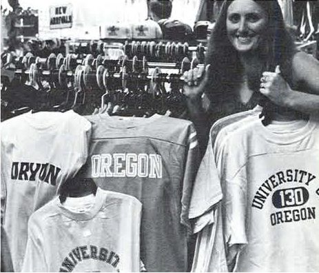 Shirts for sale at the UO bookstore 1977. From the 1978 Oregana (University of Oregon yearbook). www.CampusAttic.com