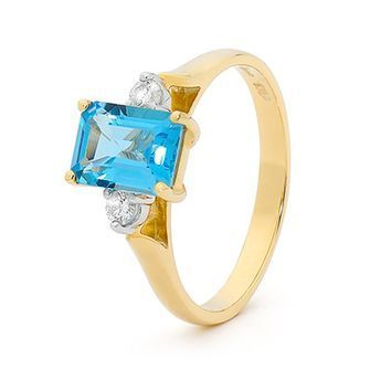 Buy our Australian made Crystal Blue Topaz Ring with Diamonds - BEE-22886-BT online. Explore our range of custom made chain jewellery, rings, pendants, earrings and charms.