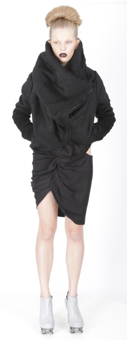 Jacket ( wool), dress (jersey), shoes ( leather, stain-less steel heel)