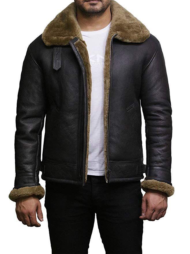 32140d11080  Affiliate  Brandslock Mens Aviator B3 Real Shearling Sheepskin Leather  Bomber Flying Pilot Jacket at Amazon Men s Clothing store