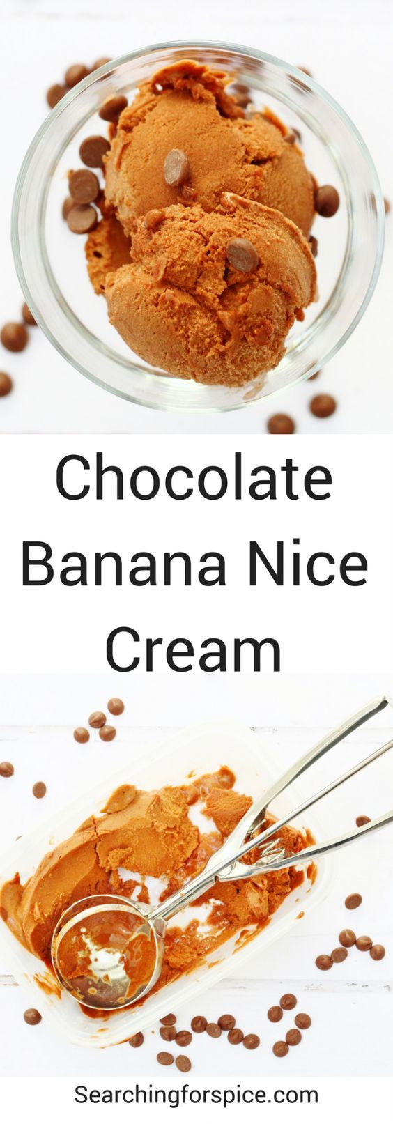 Chocolate banana nice cream. Three ingredient frozen dessert made with bananas, cocoa powder and almond milk. It's healthy, vegan with no added sugar so it's totally guilt-free #niccream #icecream #bananas #chocolate #healthydessert #noaddedsugar