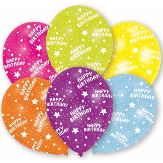 Gekleurde verjaardag ballonnen met sterren en de opdruk: Happy Birthday. U kunt de ballonnen vullen met helium of lucht. Op te blazen formaat: 27,5 cm. Inhoud per zakje: 6 stuks.