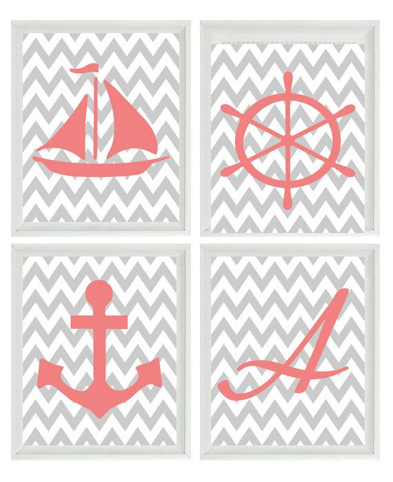 Beach Nautical Chevron Initial Art Print Set - Pink Gray Nursery Girl Room -  Sailboat Anchor Wheel - Wall Art Home Decor Set 4 8x10. $50.00, via Etsy.