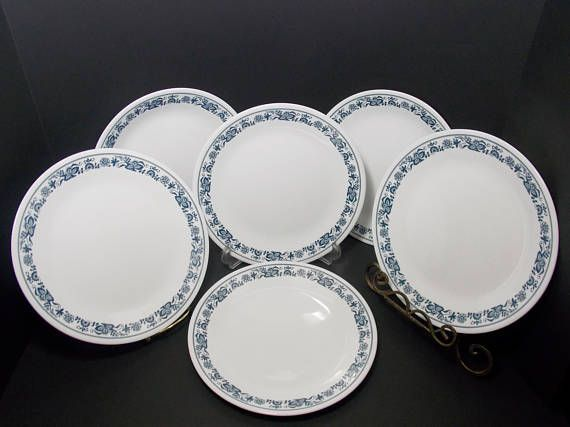 6 10 inch Corelle Plates Old Town Blue Blue Onion Plates large
