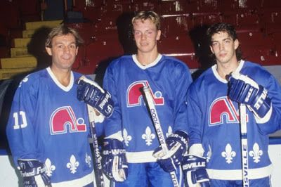 LOVE THIS!! Circa 1990 Quebec Nordiques. From left: Guy Lafleur, Mats Sundin, Joe Sakic