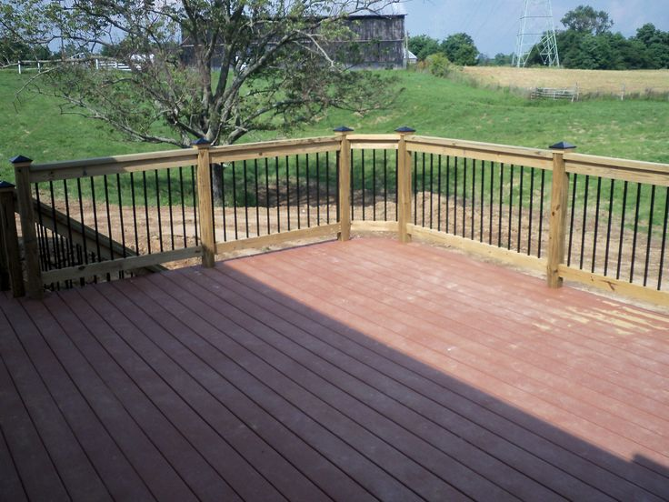 Composite Deck With Wood Railing Decks