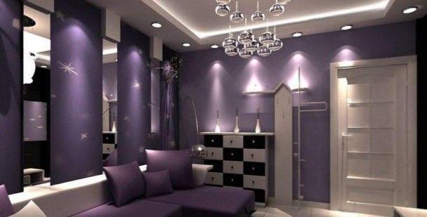 Lila Renk Oturma Odası Dekorasyon Fikirleri