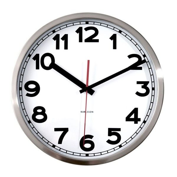 Karlsson Numbers Wall Clock - designer silver wall clock