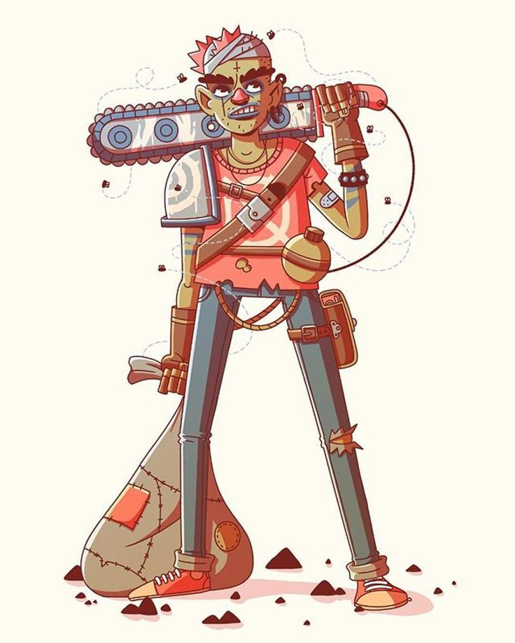 Chainsaw Chuck by @studiomuti  #illustration #character #chainsaw #chuck