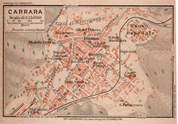 1916 Carrara Italy City Map Antique Map Vintage by Craftissimo