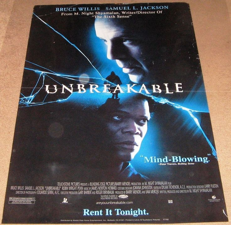 Unbreakable Movie Poster 27x40 Used Bruce Willis, Leslie Stefanson, Michael Kelly, Spencer Treat Clark, Samuel L Jackson, Rick Kain, Chrismandu, Simms Thomas, Chance Kelly, Bob Bowersox, Robert Randolph Caton, Damian Young, Jonathan Sachar, James Handy