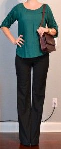 outfit post: green blouse, black pants, burgundy purse
