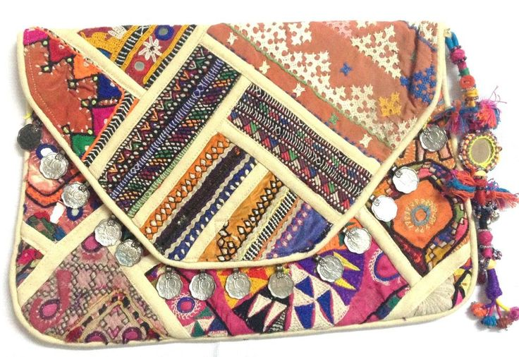 Indian vintage banjara clutch handmade embroidered beige color cotton clutch bag #Handmade #Clutch
