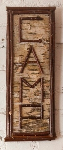 Birch bark name sign @Andrea Whitford - you could do this but turn the sign sideways