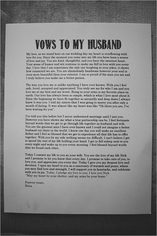Romantic wedding idea. Vows to my husband.