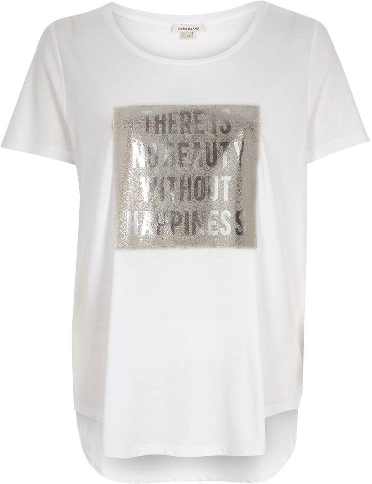 River Island Womens White foil slogan print oversized t-shirt