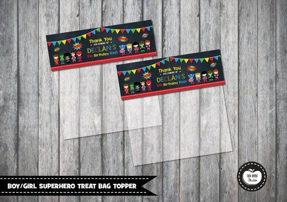 SUPERHERO Treat Bag Topper. Loot Bag Topper. by RedAppleStudio