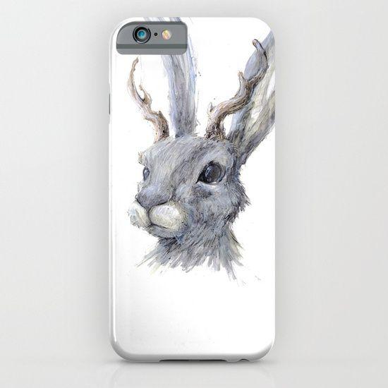 Cellphone case, drawing  graphite  ink/pen  acrylic   comic  illustration  figurative  jack-rabbit   rabbit  bunny  jackalope  antlers   forest  myth