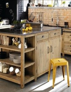 Like the cabinet and shelving. Utilitarian. I love the brick backsplash and the high goose-neck sink....