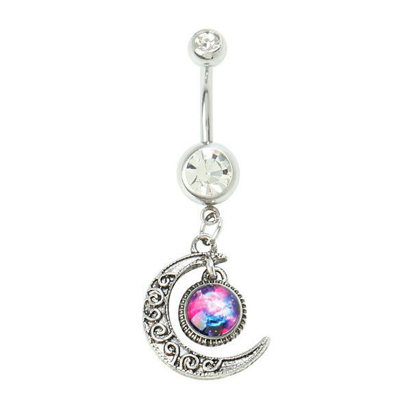 14G Steel Moon Galaxy Navel Barbell | Hot Topic ($13) ❤ liked on Polyvore featuring jewelry, piercings, accessories, belly button rings, belly rings, belly button rings jewelry, steel jewelry, beading jewelry, cosmic jewelry and clear crystal jewelry