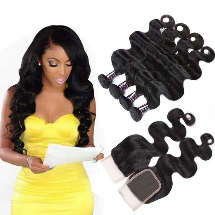 8A Brazilian Virgin Hair With Closure 3PCS Brazilian Body Wave Hair Bundles With 1PC Lace Closure 4x4 Part 100% Human Hair Weave
