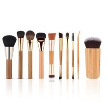 Durable 10 pcs High-end bamboo handle Makeup brush Set Pro Eye brow Foundation Cosmetic Brushes Kit Beauty Tools with Canvas //FREE Shipping Worldwide //