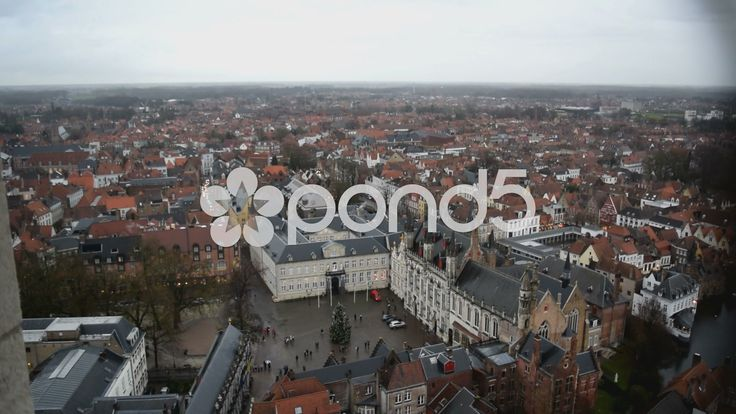 View from The Belfry of Bruges of Burg Square and beyond - Bruges, Belgium - Stock Footage | by glenman77