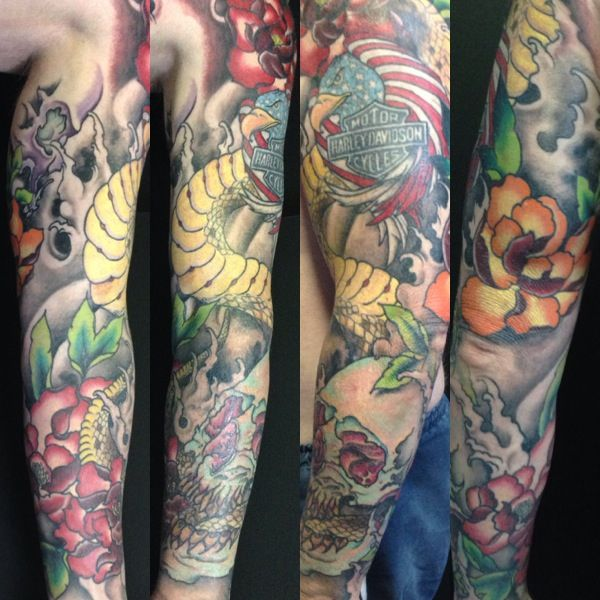 Neo japanese sleeve tattoos by samantha sharland for Neo japanese tattoo