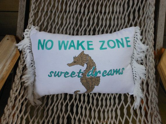 Sweet Dreams. No Wake Zone. Seahorse Painting Pillow ...