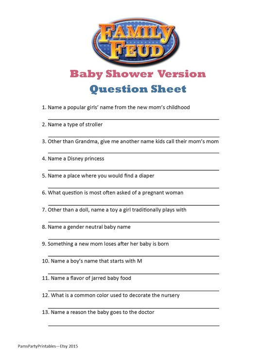 Baby Family Feud - UPDATED with Answers!! | Baby shower ...